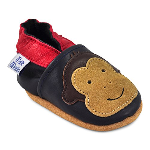 Baby Crib Shoes Leather - Petit Marin Beautiful Soft Leather Baby Shoes with Suede Soles – Toddler / Infant Shoes - Crib Shoes – Baby First Walking Shoes - Pre-walker Shoes - Monkey - 12-18 Months (20 Designs)