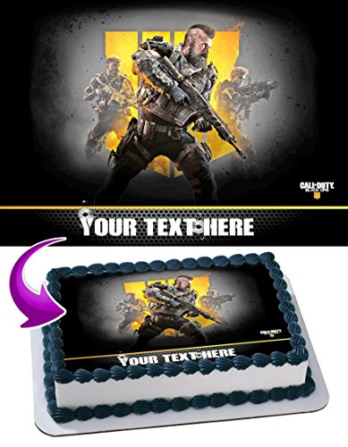 Call of Duty Black Ops IV Edible Image Cake Topper Personalized Birthday 1/4 Sheet Decoration Custom Sheet Party Birthday Sugar Frosting Transfer Fondant Image ~ Best Quality Edible Image for cake ()