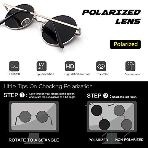 en Argenté Lennon 47mm retro de E01 rond Argenté métallique polarisées du CGID vintage style cercle inspirées lunettes soleil qTnpPf