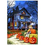 Vacally 5D DIY Diamond Painting Haunted House Embroidery Round Diamond Home Halloween Decor Gift for Adults Kids Drill Rhinestone Embroidery for Wall Decoration