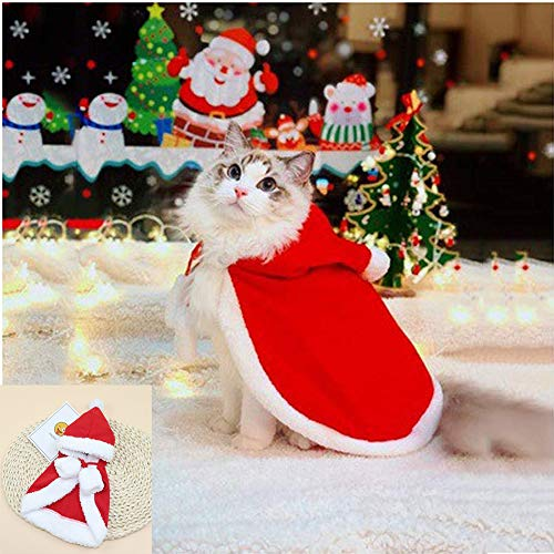 Zhenpony Cat Costume Pet Christmas Costume with Bells Soft Thick Fabric Red Velvet Pet Cape Cat Cloak with Christmas Hat…