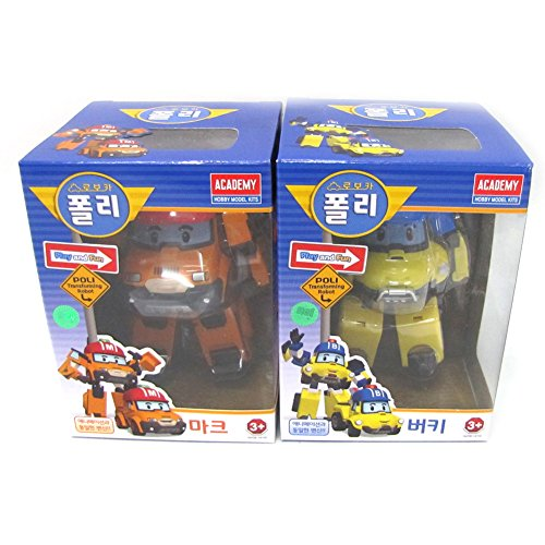 Robocar Poli MARK BUCKY Transformer Robot Car Toy Academy Action Figure 2 Pcs Set (Robot Poli)