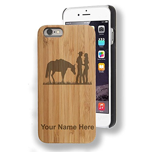 Engraving Western (Bamboo case Compatible with iPhone 7 and iPhone 8, Romantic Country Western, Personalized Engraving Included)