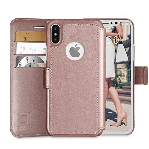 Faux Chains (LUPA iPhone X Wallet Case, Durable and Slim, Lightweight with Classic Design & Ultra-Strong Magnetic Closure, Faux Leather, Rose Gold, For Apple iPhone X (2017))