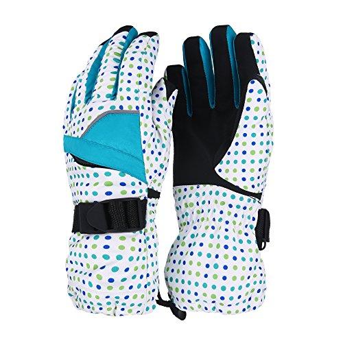 Unistrengh Women Snowboard Gloves Windproof Warmest Coldproof Outdoor Winter Sports Waterproof Ski Snowmobile Mittens (Medium, Blue and Green Dot) (Jacket Warmest Snowboard)