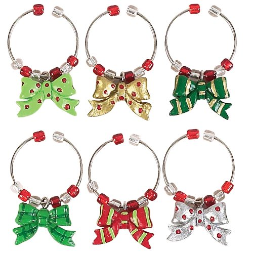Boston Warehouse Holiday Bows Wine Glass Charms (Set of 6)