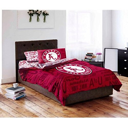 5pc NCAA University Alabama Crimson Tide Comforter Full Set, Red, College Football Themed, Team Logo, Sports Patterned Bedding, Team Spirit, Fan Merchandise (University Alabama Bedding Of Sets)