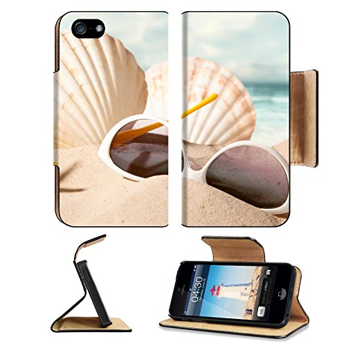 MSD Premium Apple iPhone 5 iphone 5S Flip Pu Leather Wallet Case closeup of shell starfish and sunglasses on sunny beach with blurry sea in the iPhone5 IMAGE - Sunglasses Emoji Copy