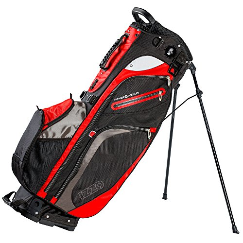 Izzo Versa Stand Golf Bag - Black/Grey/Red - Golf Hybrid Stand Bag, Riding Hybrid Golf Stand Bag, Walking Hybrid Golf Stand Bag - Black, Grey and Red Golf Stand Bag