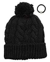 Women's Thick Oversized Cable Knitted Fleece Lined Pom Pom Beanie Hat with Hair Tie.