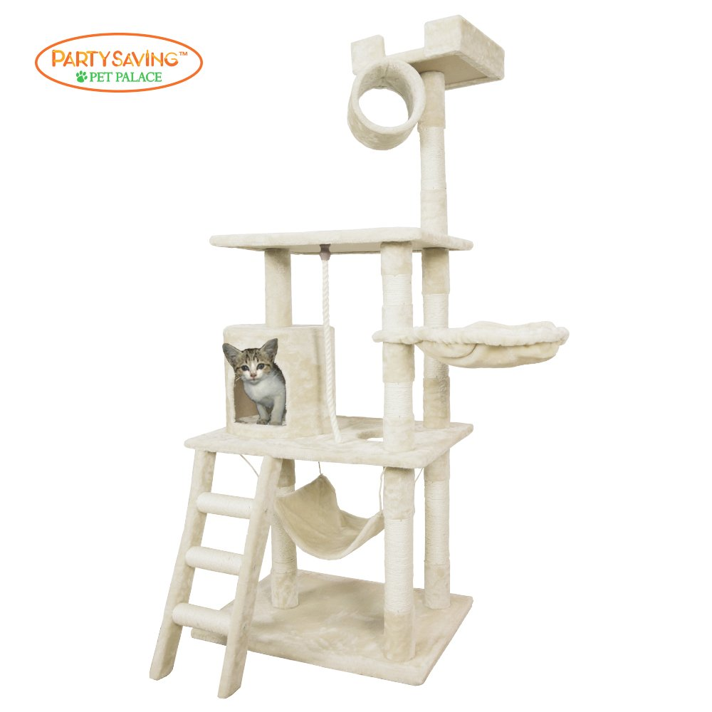 PET PALACE Cat Tree Kitten Activity Tower Condo with Hammock Deluxe Scratchin..