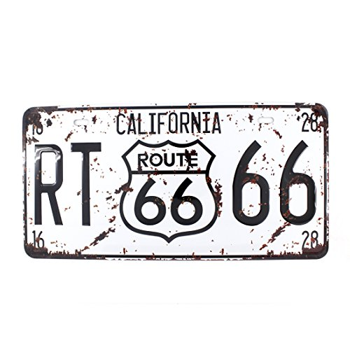 6x12 Inches Vintage Feel Metal Tin Sign Plaque for Home,bathroom and Bar Wall Decor Car Vehicle License Plate Souvenir (CALIFORNIA ROUTE 66)