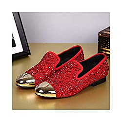 Slip On Leather Shoe With Crystal & Metal Toe