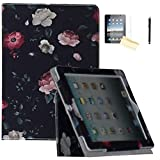 JYtrend Smart Case Compatible iPad Air(2013 Release)/iPad Air 2(2014 Release) For A1474 A1475 A1476 A1566 A1567- Folio Stand Magnetic Cover with Auto Wake/Sleep (Flower Black)