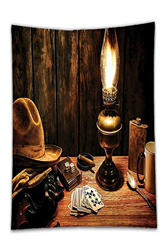Interestlee Satin drill Tablecloth?Western Decor Mystic Night in Hotel Room Dallas with Lantern Nightstand Table and Poker Card Brown Dining Room Kitchen Rectangular Table Cover Home Decor