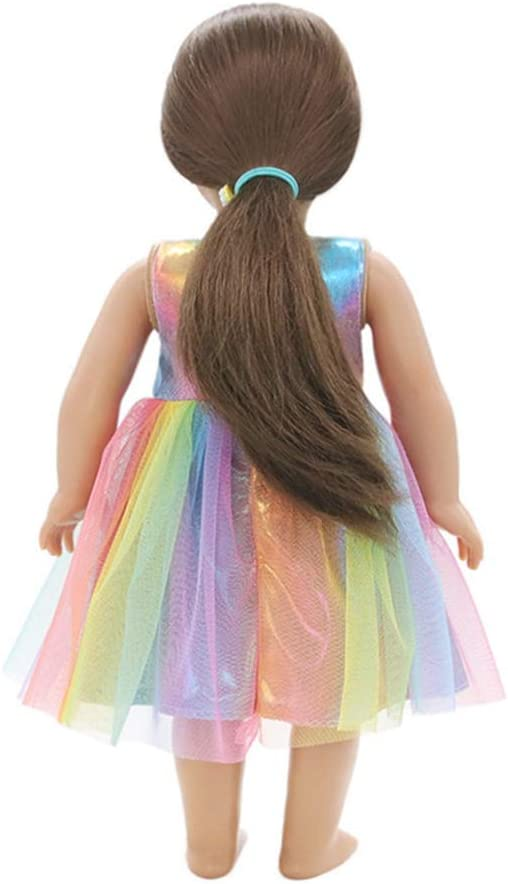 Robe de poup/ée Belle poup/ée de maille de couleur arc-en-ciel Habille des v/êtements pour poup/ées fille 18