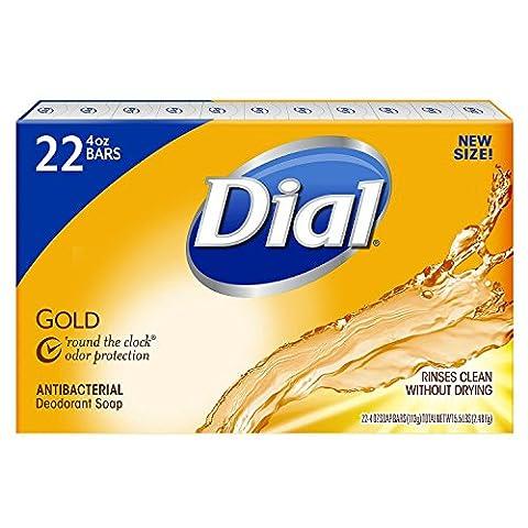 Dial Antibacterial Deodorant Gold Bar Soap, 4 Ounce (Pack of 22) Net Wt 5.5 LBS (2) (Dial Bar Gold)
