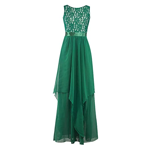 d68c2e8ab13 Women Chiffon Long Maxi Dress Bridesmaid Evening Party Ball Formal Gown  Green