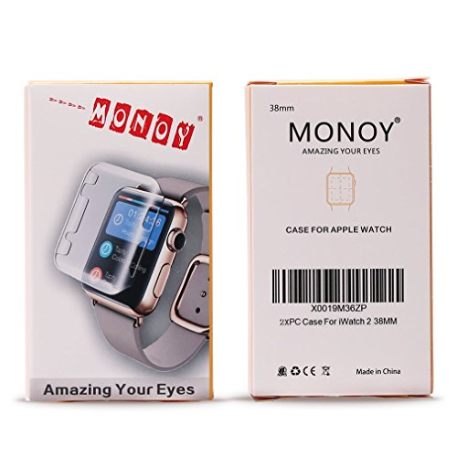 Monoy wxase-c4 Apple Watch Case, New Design Slim 2nd PC Hard Screen Protector for iWatch Series 2 38 mm 2016 - Clear Plus Grey - 2 Piece