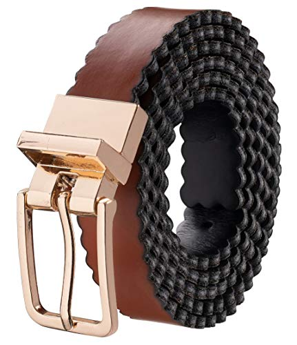 Silky Toes Leather Reversible Adjustable Belts for Women with Buckle, Genuine Leather, Multi Colors (Waist 38-42 (XL), Camel - Black)