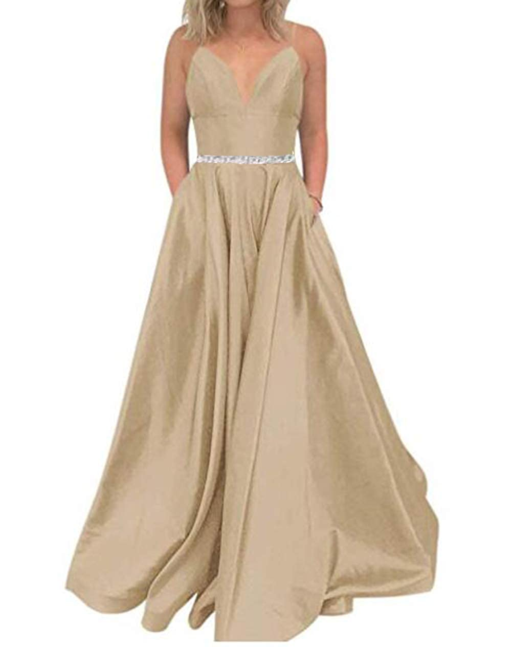 Champagne Tsbridal Women's A Line Bead Prom Dresses V Neck Satin with Pockets Evening Gown
