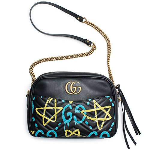 Gucci-Ghost-GG-Marmont-Black-Graffiti-Leather-Shoulder-Bag-Handbag-Italy-New-1
