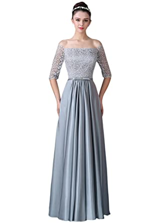 Amazon Vimans Long Grey Off Shoulder Satin Prom Maxi Dress For