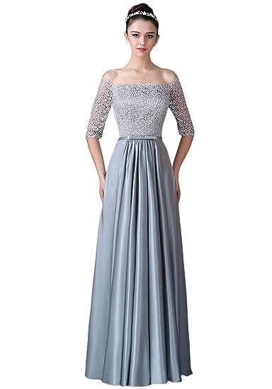 Vimans Girls Long Lace Grey Off Shoulder Wedding Prom Dresses
