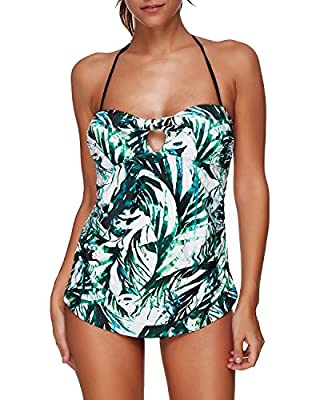 Tempt Me Women Two Pieces Palm Printed Ruched Halter Keyhole Tankini Sets