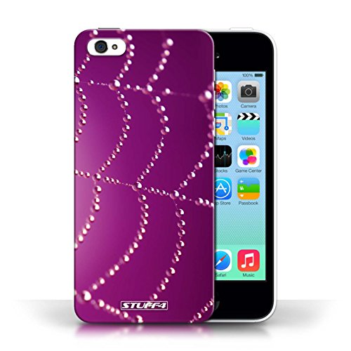 Etui pour Apple iPhone 5C / Rose conception / Collection de Toile d'araignée Perles