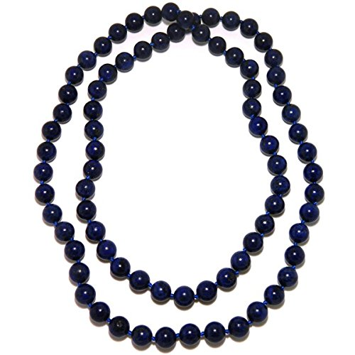 Lapis Blue Check - Pearlz Ocean Lapis Lazuli Endless Knotted Necklace