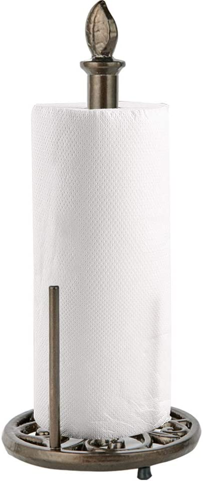 JOGREFUL Vintage Metal Paper Towel Holder Brown Cast Iron Roll Paper Towel Stand for Kitchen Bathroom Home Decor-Coffee Gold