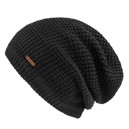 Slouchy Beanie,Mens&Womens Long Warm Winter Hat Mesh Knit Cap Skully Black (Knit Slouch Hat)