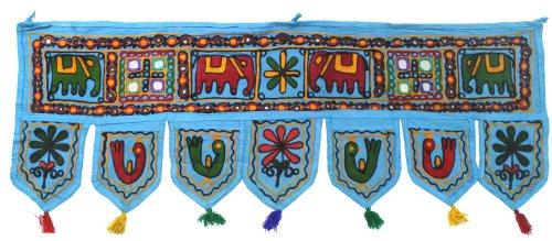 Indian Decor (Gorgeous Door Hanging India Mirror Work Toran Indian Decor (Blue, 34 x 13 in))