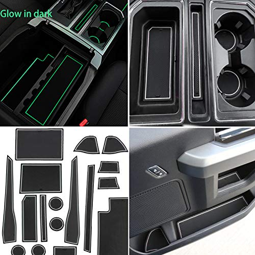 TOPPOWER Anti-dust Non-Slip Interior Door Liners Cup Holder Pads Center Console Mat for Ford F150 2017 2018 (29pcs/Set, for Full Size Four Door Model 2017-2018 Upgrade,White)