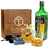Image of WHISKEY STONES LUXURY GIFT SET – 8 Stone Ice Cubes. Reusable Granite Chilling Rocks + 2 Regular Size (215ml) Whiskey Glasses in Handcrafted Wooden Box and Velvet Bag. Premium Bar Accessories by TANGRA
