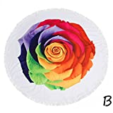 Boofab thick Round Beach towel Blanket Microfiber Yoga Mat with Tassels Ultra Soft Super Water Absorbent Multi-Purpose Towel (B)