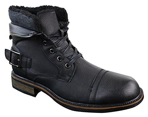 Mens PU Leather Fleece Lace Ankle Combat Buckle Military Army Biker Boots Shoes Black 1LSGjB