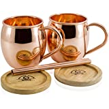 Set of 2 Moscow Mule Copper Mugs by Copper Mules – Handcrafted from 100% Pure Copper - Riveted Handles for Strength – Holds 16 ounces - BONUS: Copper Straws, Wood Coasters, and eBook