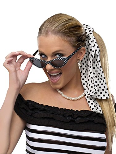 Fun World Women's Retro 50s Bobby Soxer Costume Sunglasses Hair Accessory Kit, Multi, - Sunglasses 1950s