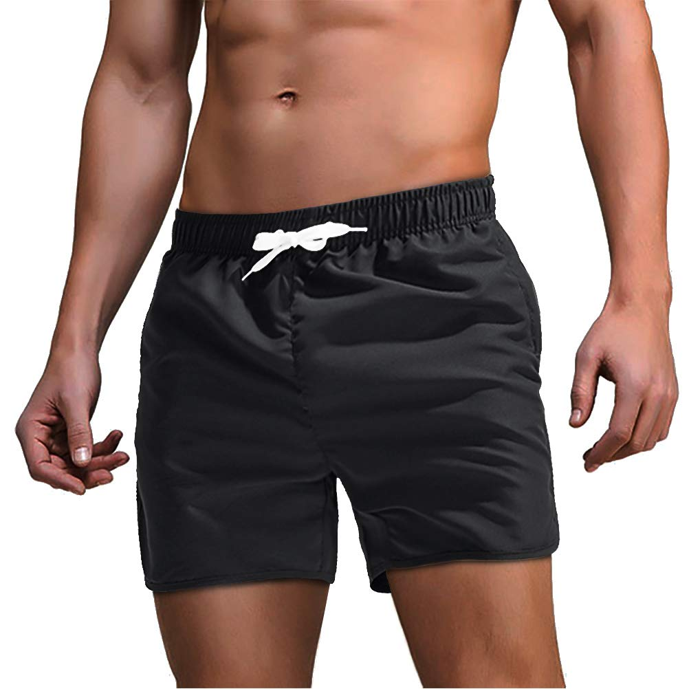 FASKUNOIE Mens Breathable Mesh Lining Beach Shorts Quick Dry Board Shorts Solid Trunks with Zipper Pockets