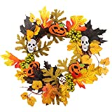 Homyl Artificial Maple Leaf Pumpkin Berry Wreath for Home Window Door Wall Ornament Halloween Decoration - B