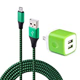 Wall Charger Dual Port Adapter with 6ft Micro USB Cable, Kakaly Charge Sync Cable Cord for Samsung S6 S7 Edge Plus, HTC, Sony, HuaWei, Blackberry, Android Smartphones-Green