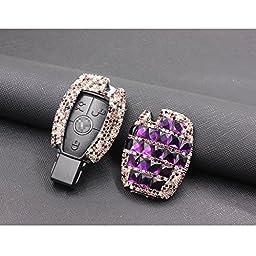 YIKA Benz diamond key shell Car Key Case Cover Holder Pouch Remote Key Chains Key Bag For Mercedes-Benz C E S M CLS CLK GLK GL Class, etc(purple)