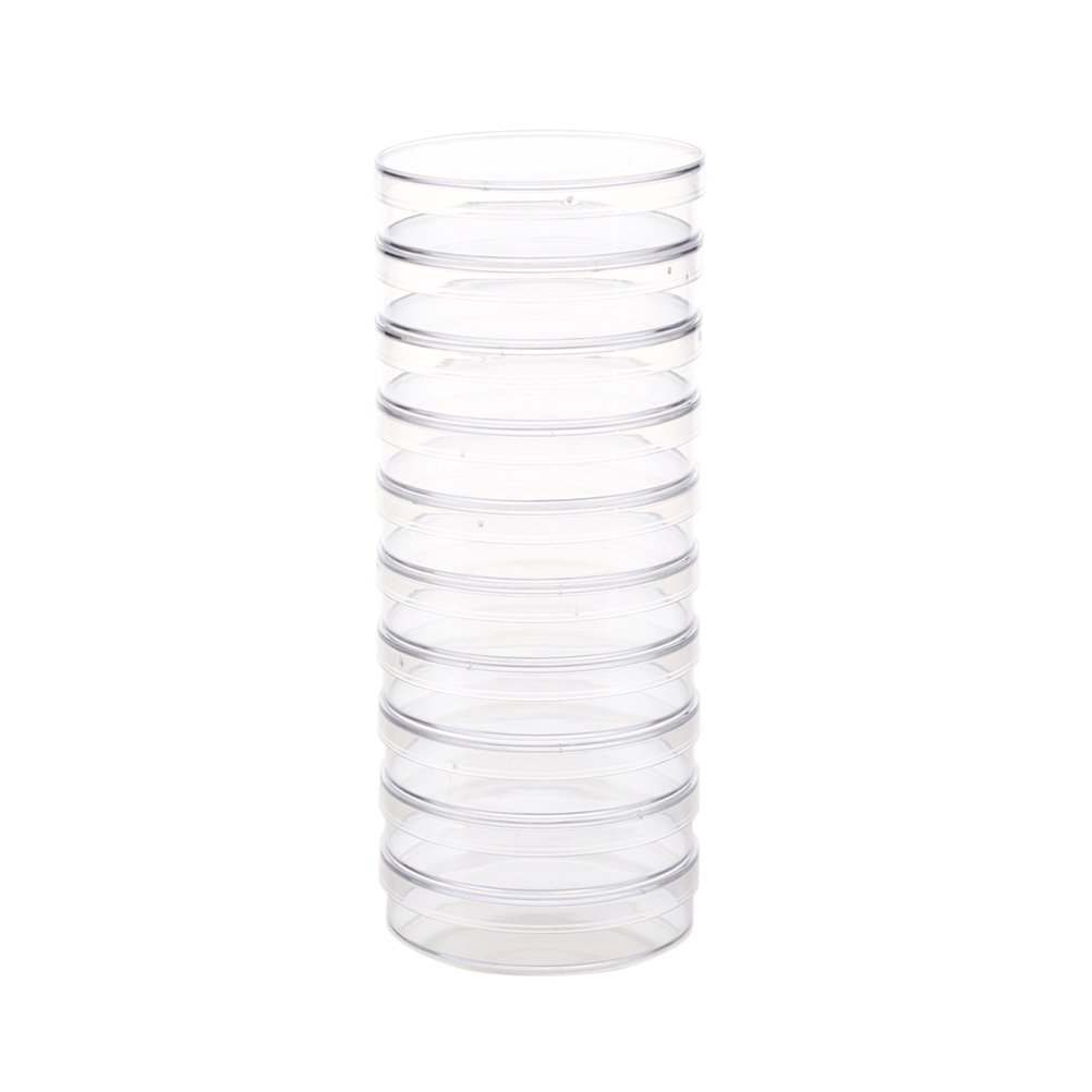 UEETEK 10pcs 70mm Plastic Petri Dishes Sterile Bacterial Culture Dish with Lid