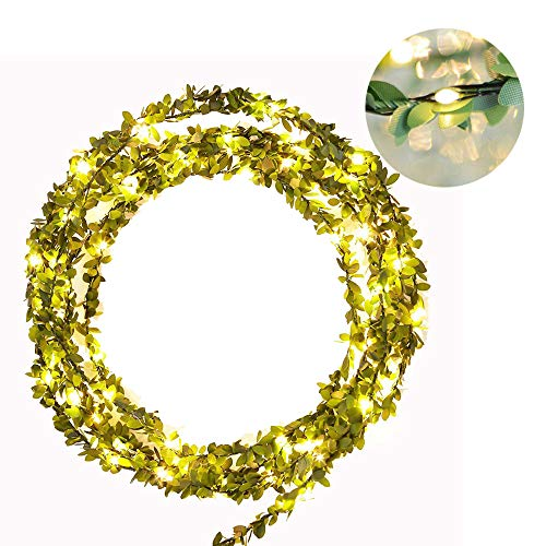 AceList 3M/ 9.8ft Mini 30 LEDs Green Ivy Leaves Fairy String Lights for Mother's Day Christmas Party Year Wedding Garden Indoor -