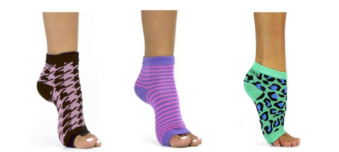 Freetoes Toeless Sock x 3 pair (1- Purple/Pink Stripe, 1-Pink/Black Houndstooth, 1-Teal/Blue Leopard) by FreeToes
