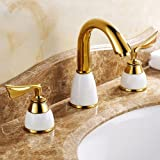 Yannlii Gold(ti-pvd) Bathroom Sink Faucet Vessel Faucet Modern Centerset Widespread Two Handle Three Hole Faucets Sprayer Lavatory Faucets Unique Designer Plumbing Fixtures Tub Shower Mixer Taps Supply Lines