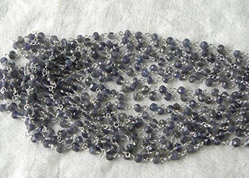 Sapphire Blue Iolite Rosary Chain Bead 1 1/2' Chain 3.5mm Semiprecious Faceted Gemstones Purple Iolite by Gemswholesale