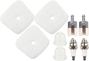 Dalom 3pcs Air Filter Primer Bulb for Mantis Tiller Cultivator 7222 7222E 7222M 7225 7230 7234 7240 7920 7924 Fuel Filter Spark Plug